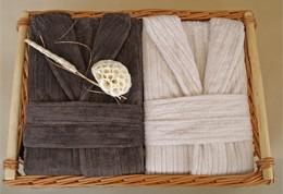 2 Męskie Szlafroki Bonjour w Ozdobnym Koszu na Prezent Greno L krem, M czekolada