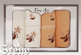 6 Ręczników Haftowanych w Ozdobnym Pudełku Viva Art VI Greno honey, just
