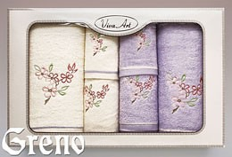 6 Ręczników Haftowanych w Ozdobnym Pudełku Viva Art VI Greno lila, kwiat jabłoni