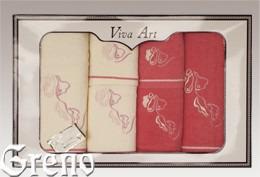 6 Ręczników Haftowanych w Ozdobnym Pudełku Viva Art VI Greno malina, deco