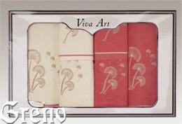 6 Ręczników Haftowanych w Ozdobnym Pudełku Viva Art VI Greno malina, dmuchawce