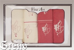 6 Ręczników Haftowanych w Ozdobnym Pudełku Viva Art VI Greno malina, dzwoneczek
