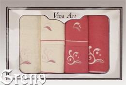 6 Ręczników Haftowanych w Ozdobnym Pudełku Viva Art VI Greno malina, melody
