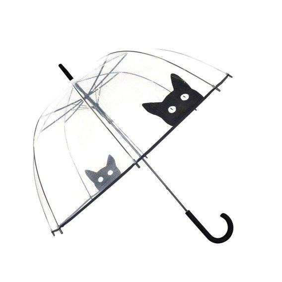 Długi parasol przezroczysty kopuła, kot