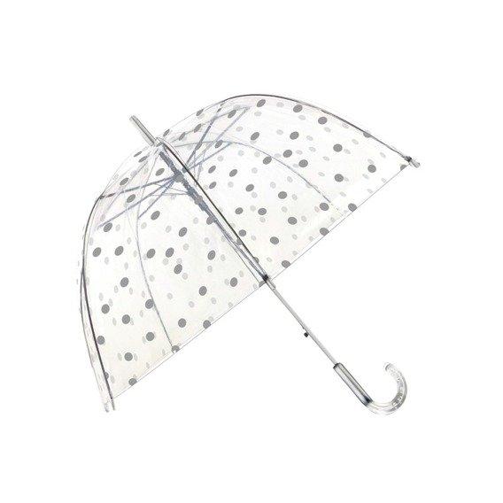 Długi parasol przezroczysty kopuła, srebrne grochy