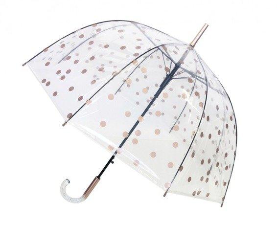 Długi parasol przezroczysty kopuła, złote grochy