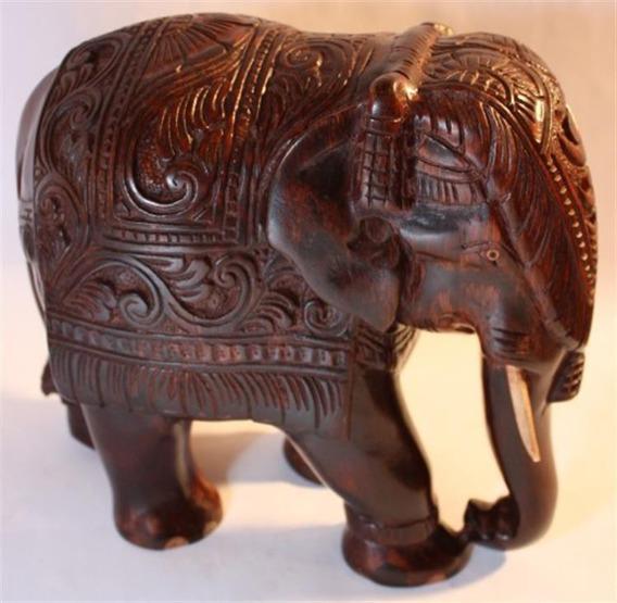 Drewniany Ręcznie Rzeźbiony Słoń 25 cm