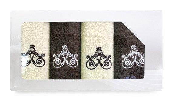 Komplet 4 ręczników Greno Viva Krem Brąz Wzór 1