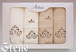 Komplet 6 Ręczników Haftowanych w Ozdobnym Pudełku na Prezent Arten VI Greno beż, secesja