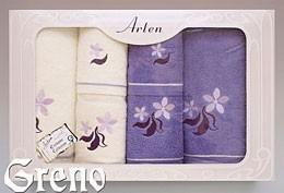 Komplet 6 Ręczników Haftowanych w Ozdobnym Pudełku na Prezent Arten VI Greno lila, just