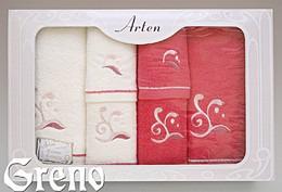 Komplet 6 Ręczników Haftowanych w Ozdobnym Pudełku na Prezent Arten VI Greno malina, melody