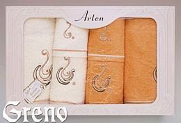 Komplet 6 Ręczników Haftowanych w Ozdobnym Pudełku na Prezent Arten VI Greno pomarańcz, ocean