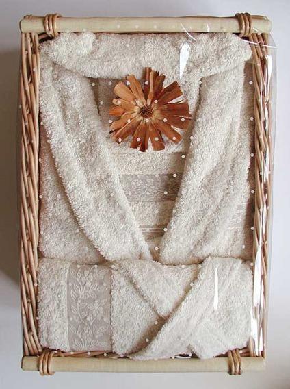 """Komplet Linen 2 Ręczniki (50x100cm i 70x140cm) + Szlafrok Rozmiar """"M"""" GRENO kwiatki"""