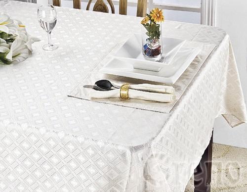 Komplet obrus DIAMOND i 4 podkładki na stół Greno biały